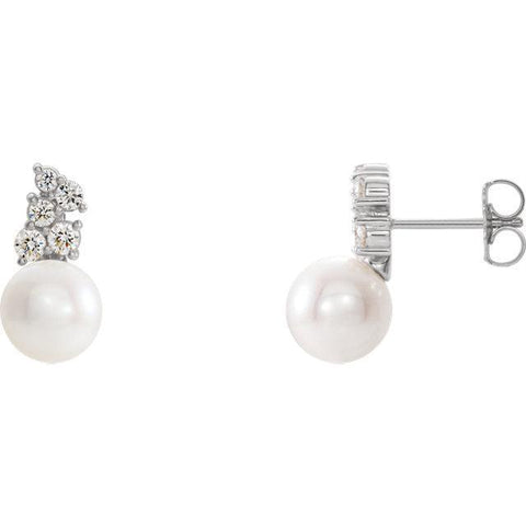 Giacobbe & Company 14k White Gold 14K White, Yellow, or Rose Gold Freshwater Cultured Pearl & 3/8 CTW Diamond Earrings