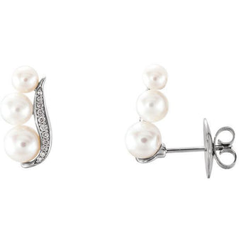 Giacobbe & Company 14k White Gold 14K White, Yellow, or Rose Gold Freshwater Pearl & 1/10 CTW Diamond Ear Climbers