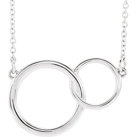 "Giacobbe & Company 14k White Gold 14K White, Yellow, or Rose Gold Interlocking Circle 16""-18"" Necklace"
