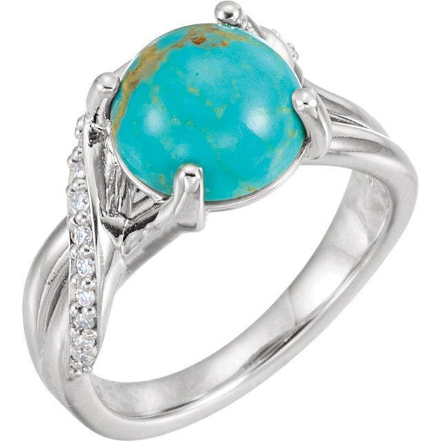Giacobbe & Company 14k White Gold 14K White, Yellow, or Rose Gold Kingman Turquoise & 1/6 CTW Diamond Ring