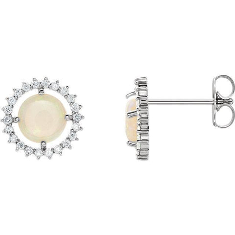 Giacobbe & Company 14k White Gold 14K White, Yellow, or Rose Gold Opal & 1/8 CTW Diamond Halo Earrings
