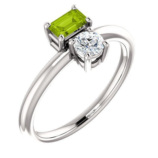 Giacobbe & Company 14k White Gold 14K White, Yellow, or Rose Gold Peridot & Sapphire Two-Stone Ring