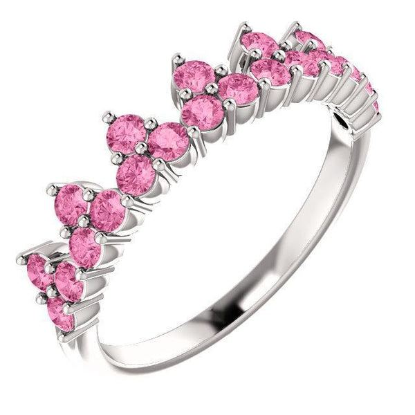 14K White, Yellow, or Rose Gold Pink Sapphire Crown Ring