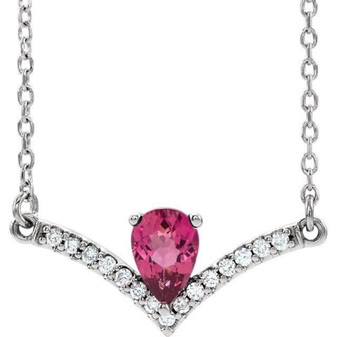 Giacobbe & Company 14k White Gold 14K White, Yellow, or Rose Gold Pink Tourmaline & .08 CTW Diamond Necklace