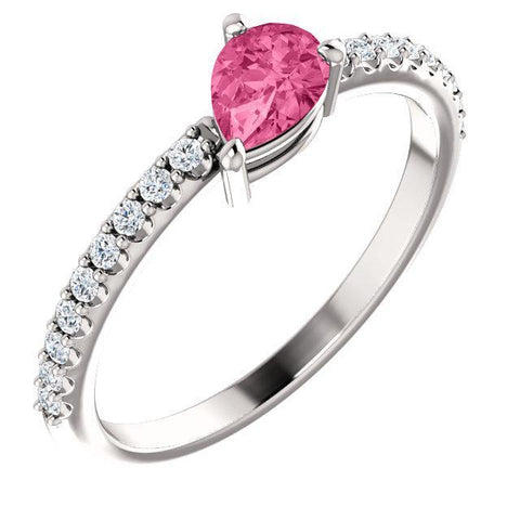 Giacobbe & Company 14k White Gold 14K White, Yellow, or Rose Gold Pink Tourmaline & 1/6 CTW Diamond Ring
