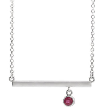 "Giacobbe & Company 14k White Gold 14K White, Yellow, or Rose Gold Ruby Bezel Set 16"" Bar Necklace"