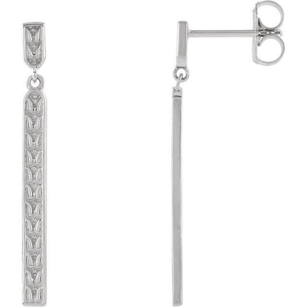 Giacobbe & Company 14k White Gold 14K White, Yellow, or Rose Gold Sculptural-Inspired Bar Earrings