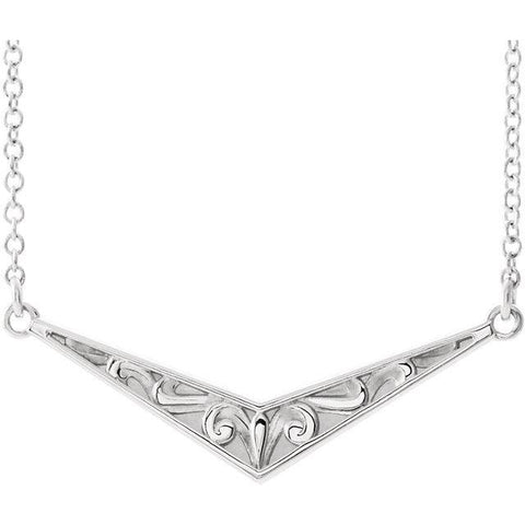 "Giacobbe & Company 14k White Gold 14K White, Yellow, or Rose Gold Sculptural-Inspired ""V"" 16"" Necklace"