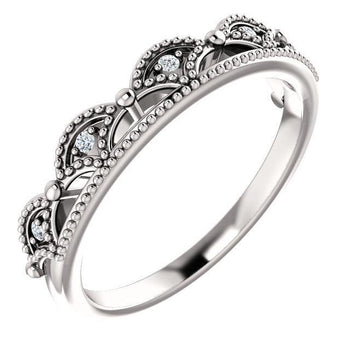 Giacobbe & Company 14k White Gold 14K White, Yellow, or Rose Gold Stackable .04 CTW Diamond Crown Ring