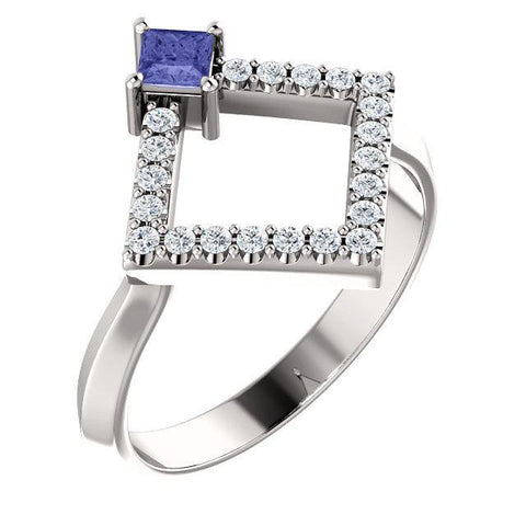 Giacobbe & Company 14k White Gold 14K White, Yellow, or Rose Gold Tanzanite & 1/5 CTW Diamond Geometric Ring