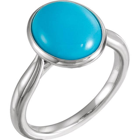 Giacobbe & Company 14k White Gold 14K White, Yellow, or Rose Gold Turquoise Solitaire Bezel Set Ring