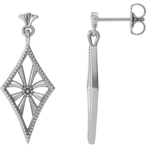 Giacobbe & Company 14k White Gold 14K White, Yellow, or Rose Gold Vintage-Inspired Dangle Earrings