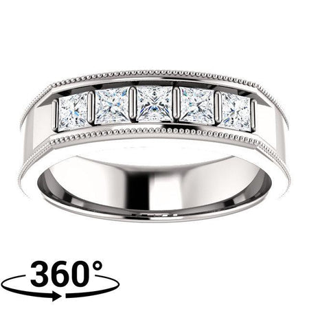 Giacobbe & Company 14K White Gold 3/4 CTW Square Diamond Men's Ring