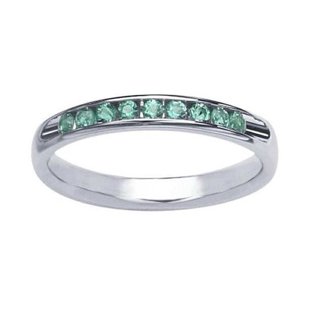 Giacobbe & Company 14K White Gold Channel-Set Emerald Band Ring