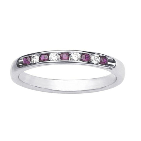 Giacobbe & Company 14K White Gold Channel-Set Ruby and Diamond Ring