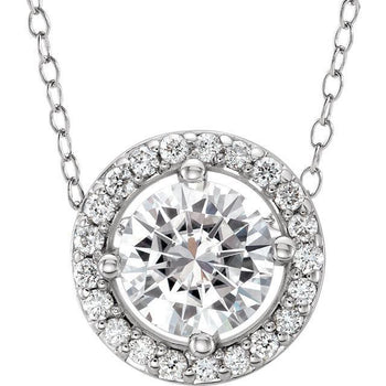 Giacobbe & Company 14K WHITE GOLD HALO DIAMOND NECKLACE