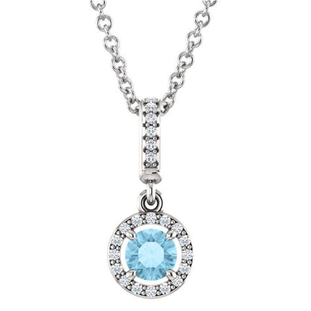 Giacobbe & Company 14K WHITE GOLD SKYE AQUAMARINE AND DIAMOND PENDANT