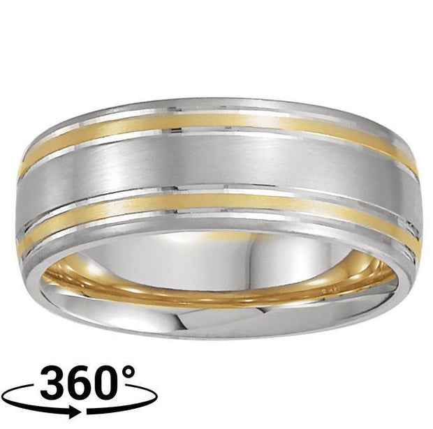 Giacobbe & Company 14K White & Yellow Gold 7mm Comfort-Fit Men's Ring