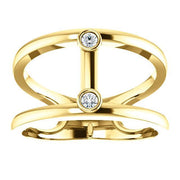 Giacobbe & Company 14K White, Yellow, or Rose Gold .06 CTW Diamond Two-Stone Negative Space Ring