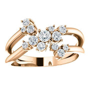 Giacobbe & Company 14K White, Yellow, or Rose Gold 1/2 CTW Diamond Cluster Bypass Ring