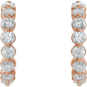 Giacobbe & Company 14K White, Yellow, or Rose Gold 1 3/8 CTW Diamond J-Hoop Earrings
