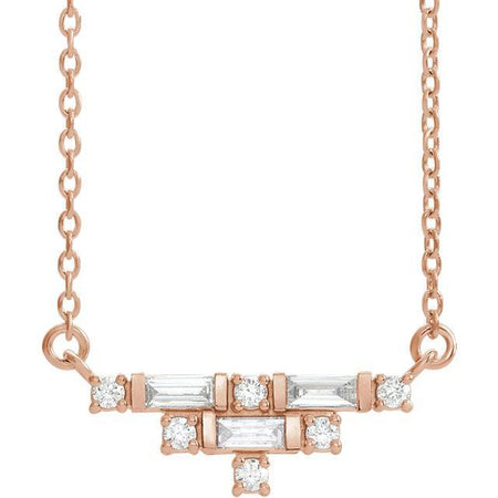 "Giacobbe & Company 14K White, Yellow, or Rose Gold 1/4 CTW Diamond Art Deco 16-18"" Necklace"