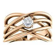 Giacobbe & Company 14K White, Yellow, or Rose Gold 1/4 CTW Diamond Solitaire Criss-Cross Ring