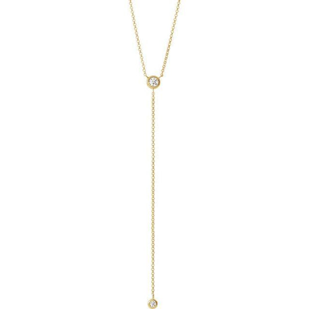 "Giacobbe & Company 14K White, Yellow, or Rose Gold 1/5 CTW Diamond ""Y"" 15-17"" Necklace"