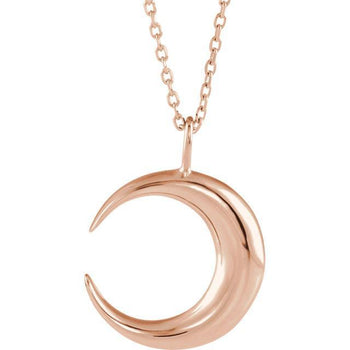 "Giacobbe & Company 14K White, Yellow, or Rose Gold Crescent Moon 16""-18"" Necklace"