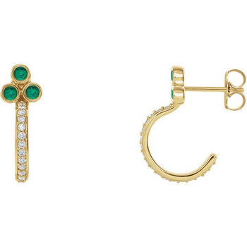Giacobbe & Company 14K White, Yellow, or Rose Gold Emerald & 1/4 CTW Diamond J-Hoop Earrings