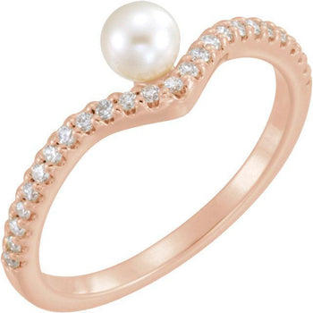 Giacobbe & Company 14K White, Yellow, or Rose Gold Freshwater Cultured Pearl & 1/5 CTW Diamond Asymmetrical Ring