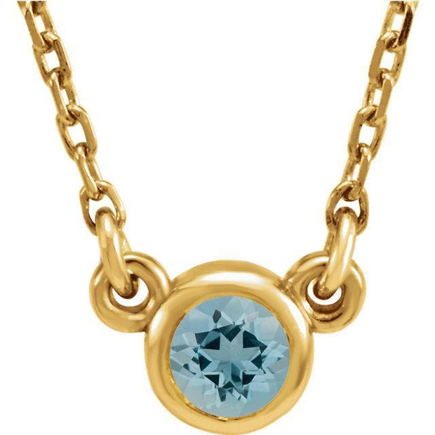 "Giacobbe & Company 14K Yellow Aquamarine Bezel 16"" Necklace"