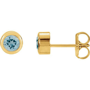 14K Yellow Aquamarine Bezel Stud Earrings