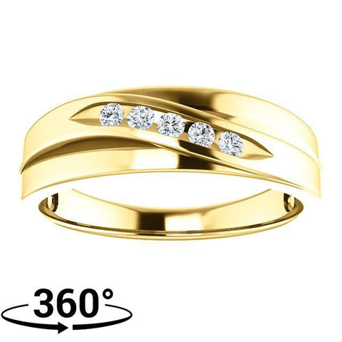 Giacobbe & Company 14K Yellow Gold 1/6 CTW Round Diamond Men's Ring