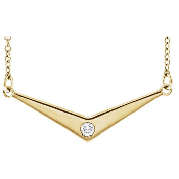 "Giacobbe & Company 14k Yellow Gold 14K White, Yellow, or Rose Gold .03 CTW Diamond Solitaire ""V"" Necklace"