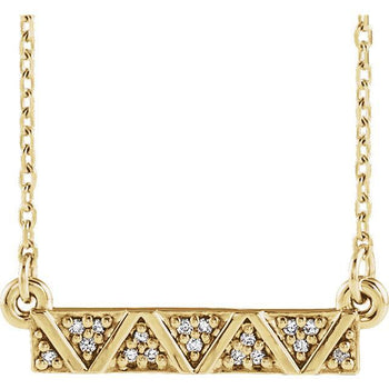 "Giacobbe & Company 14k Yellow Gold 14K White, Yellow, or Rose Gold .05 CTW Diamond Geometric Bar 16-18"" Necklace"