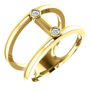 Giacobbe & Company 14k Yellow Gold 14K White, Yellow, or Rose Gold .06 CTW Diamond Two-Stone Negative Space Ring