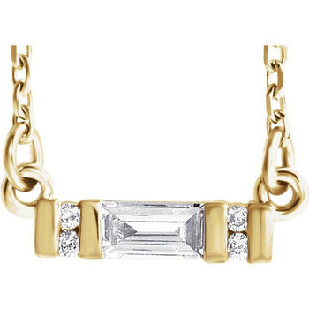 "Giacobbe & Company 14k Yellow Gold 14K White, Yellow, or Rose Gold 1/10 CTW Diamond Bar 16""-18"" Necklace"