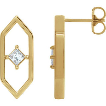 Giacobbe & Company 14k Yellow Gold 14K White, Yellow, or Rose Gold 1/3 CTW Diamond Geometric Earrings