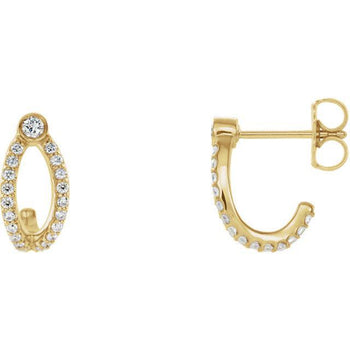 Giacobbe & Company 14k Yellow Gold 14K White, Yellow, or Rose Gold 1/3 CTW Diamond J-Hoop Earrings