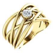 Giacobbe & Company 14k Yellow Gold 14K White, Yellow, or Rose Gold 1/4 CTW Diamond Solitaire Criss-Cross Ring