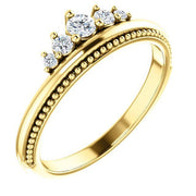 Giacobbe & Company 14k Yellow Gold 14K White, Yellow, or Rose Gold 1/5 CTW Diamond Stackable Crown Ring