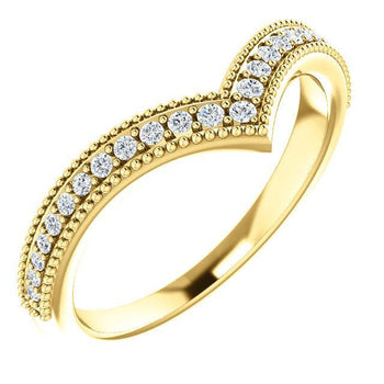 "Giacobbe & Company 14k Yellow Gold 14K White, Yellow, or Rose Gold 1/6 CTW Diamond Stackable ""V"" Ring"