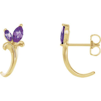 Giacobbe & Company 14k Yellow Gold 14K White, Yellow, or Rose Gold Amethyst Floral-Inspired J-Hoop Earrings
