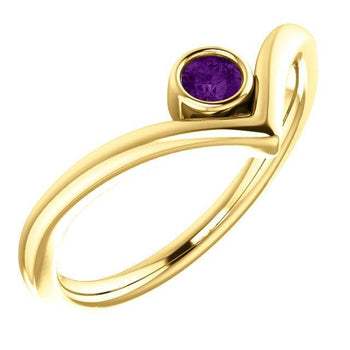 "Giacobbe & Company 14k Yellow Gold 14K White, Yellow, or Rose Gold Amethyst Solitaire Bezel Set ""V"" Ring"