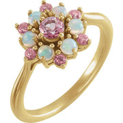 Giacobbe & Company 14k Yellow Gold 14K White, Yellow, or Rose Gold Baby Pink Topaz & Ethiopian Opal Floral-Inspired Ring