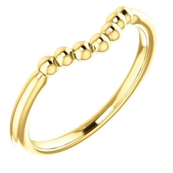 Giacobbe & Company 14k Yellow Gold 14K White, Yellow, or Rose Gold Beaded Contour Stackable Ring