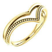 "Giacobbe & Company 14k Yellow Gold 14K White, Yellow, or Rose Gold Beaded ""V"" Ring"