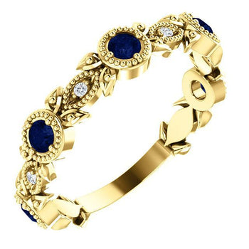 Giacobbe & Company 14k Yellow Gold 14K White, Yellow, or Rose Gold Blue Sapphire & .03 CTW Diamond Leaf Ring