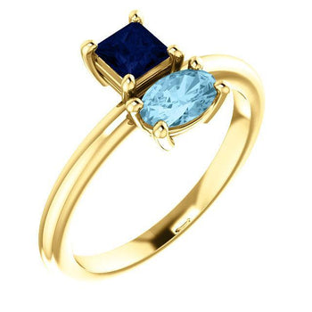 Giacobbe & Company 14k Yellow Gold 14K White, Yellow, or Rose Gold Blue Sapphire & Aquamarine Ring